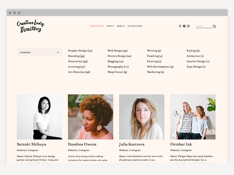 Apply to join an amazing community of female creatives -
