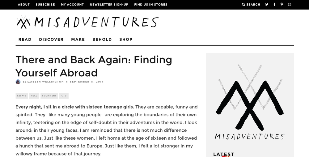 Click image to read Liz's article for  Misadventures .