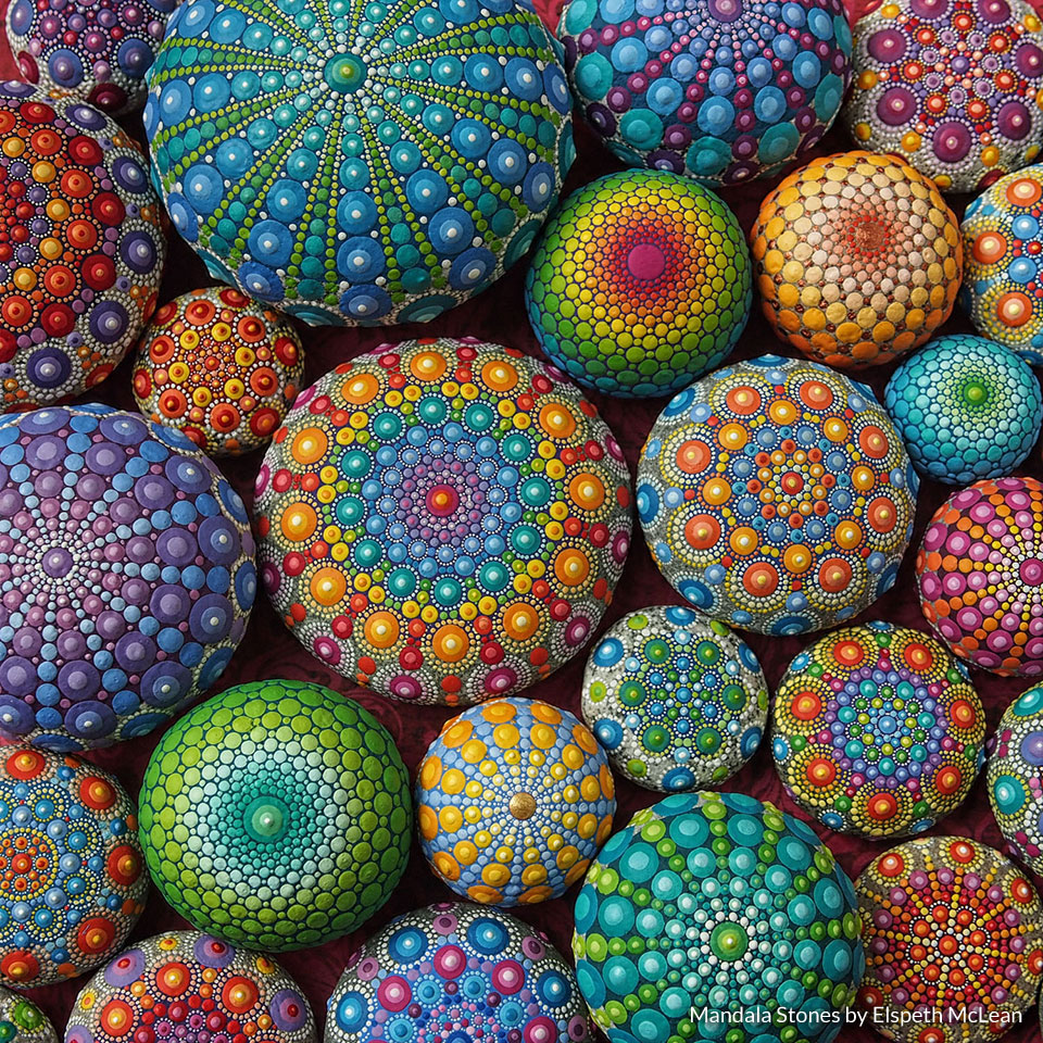Mandala Stones by  Elspeth McLean  | Elspeth came to me about a year after her beautiful painted mandala stones went viral on social media… for the second time! In response to that demand, she'd done a great job building and managing her business all on her own, but her existing website was not reflecting the full story of her art brand. In the years since, I've supported Elspeth as she's completely refreshed her brand presentation and website, negotiated her first product licensing deals, and developed the content for her first book—which she'll publish independently this year.