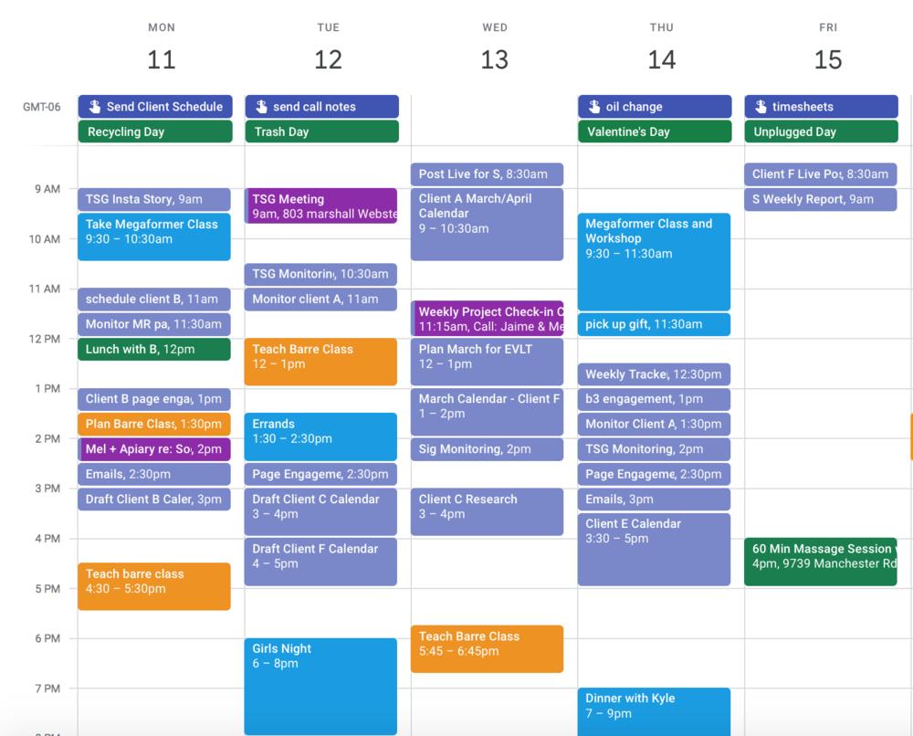 Mel's Work Block Calendar