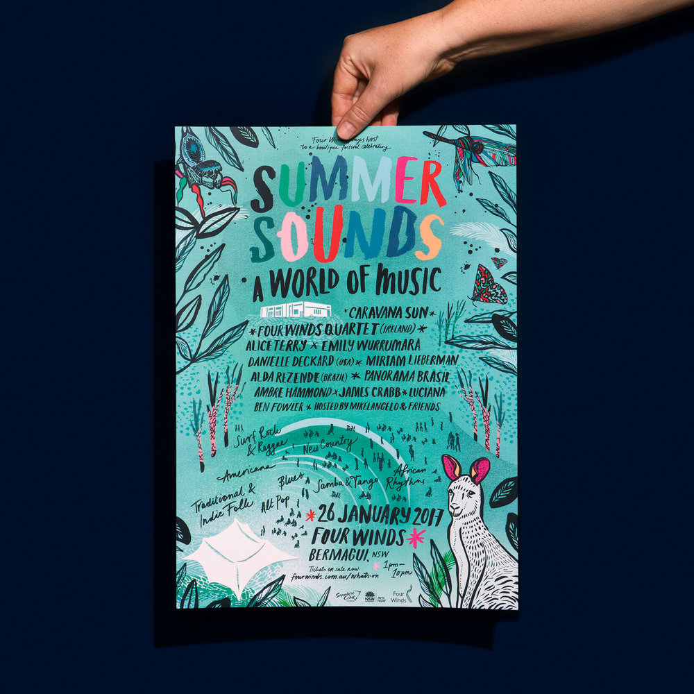 Nat Carroll | Summer Sounds Festival Poster | Freelance Wisdom