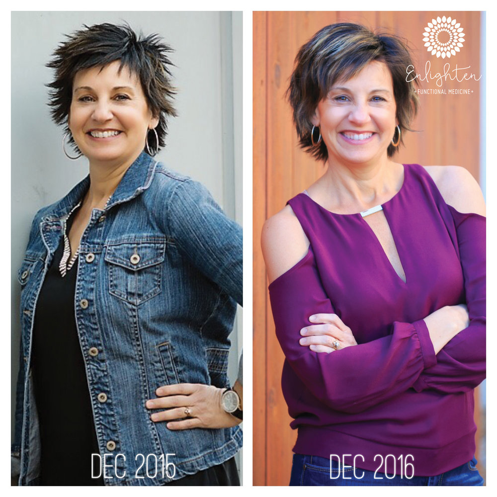 Deanna's before and after picture taken in Dec 2015 and in Dec 2016. Total transformation time...3 months.