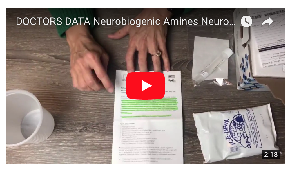 DOCTORS DATA Neurobiogenic Amines NT Test Kit Instructions