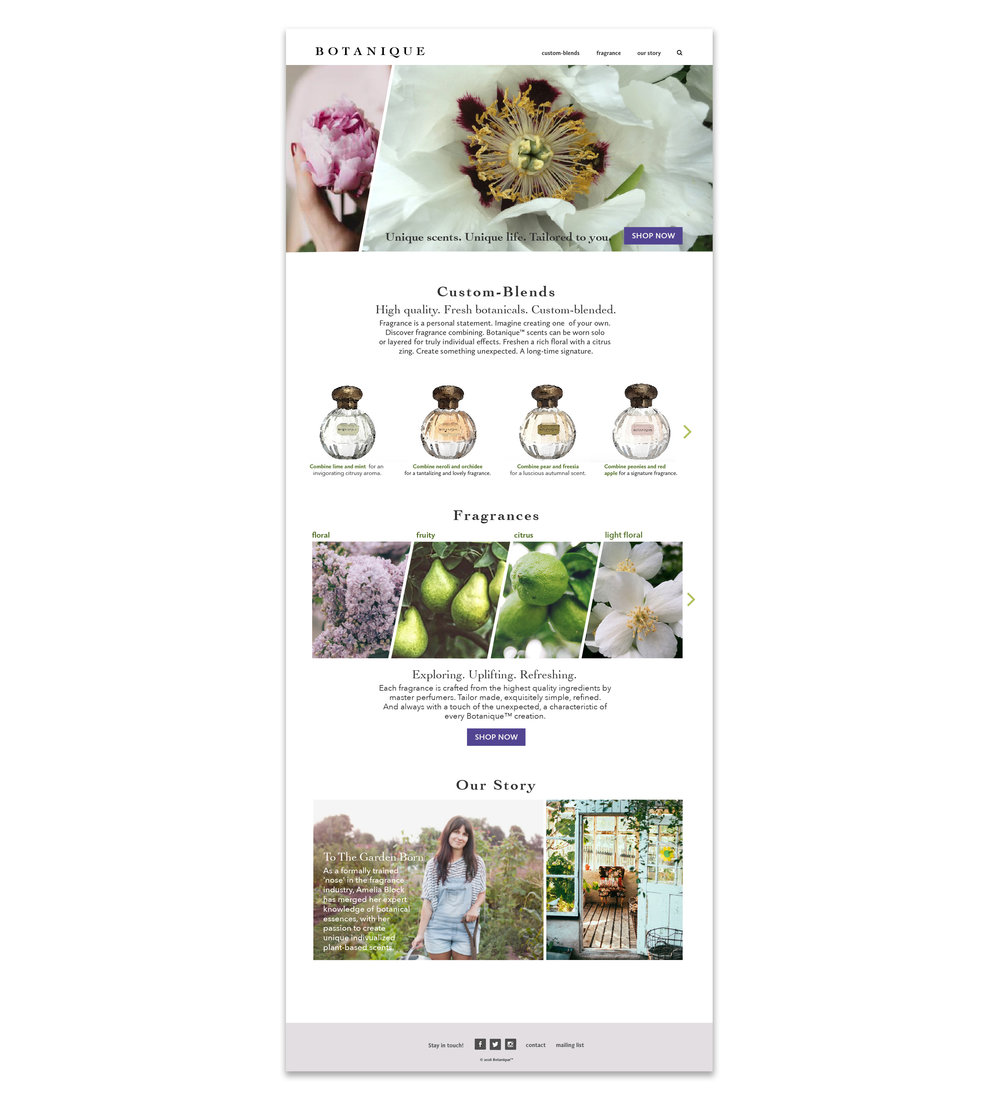 Landing page  concept  for Botanique.