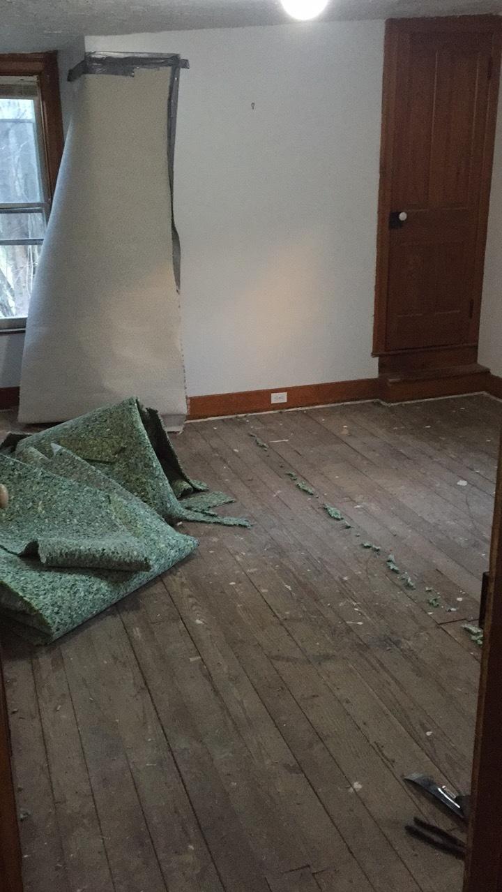 bedroom above the kitchen; goodbye carpet!