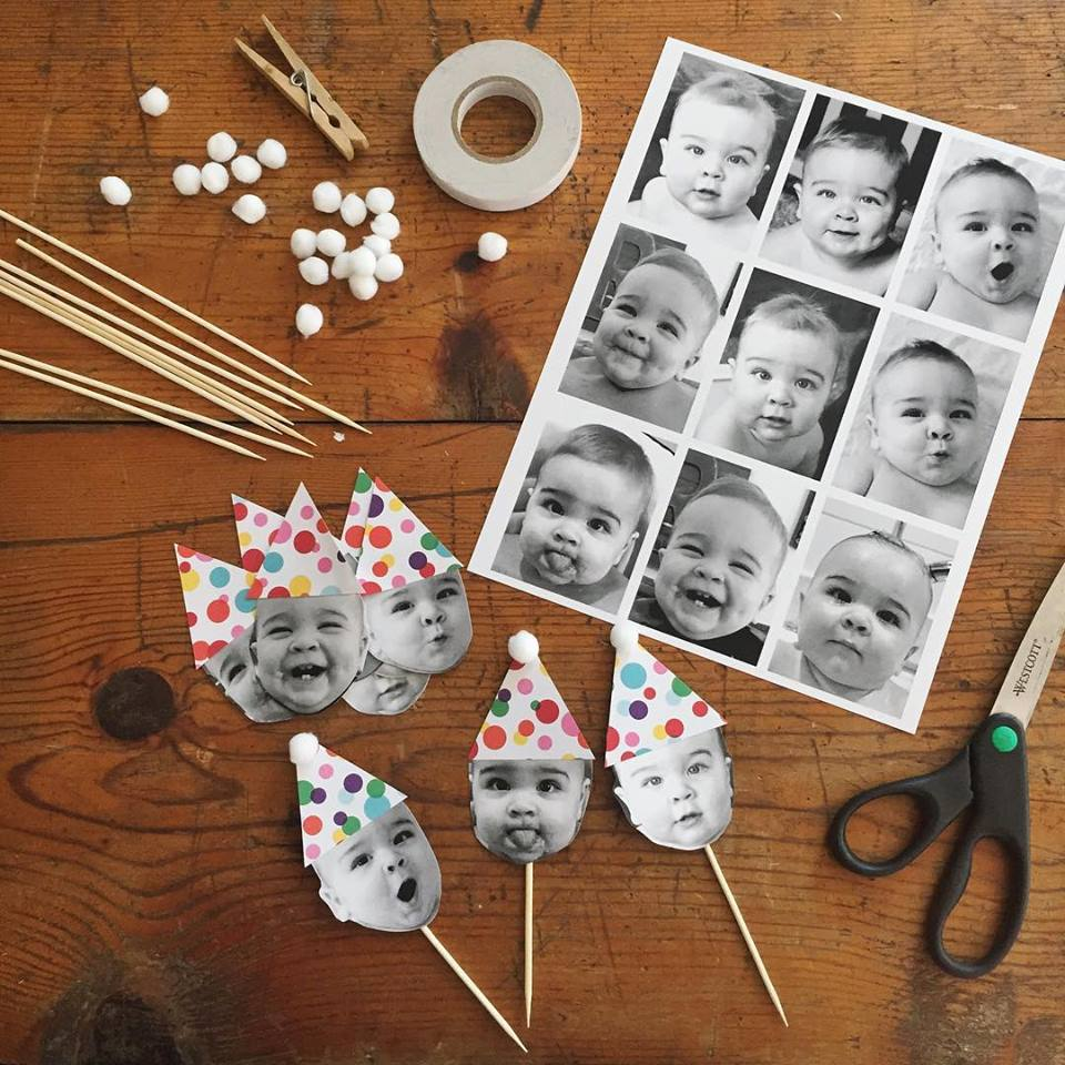 These cupcake toppers were my absolute favorite. Putting them together, I couldn't help but smile + crack up. We certainly have a character on our hands; with so many silly + sweet faces.