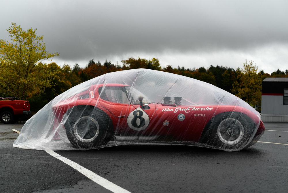 The Alan Green Chevrolet 1964 Cheetah is covered by advance of an impending thunderstorm at the Monticello Raceway in Monticello, New York