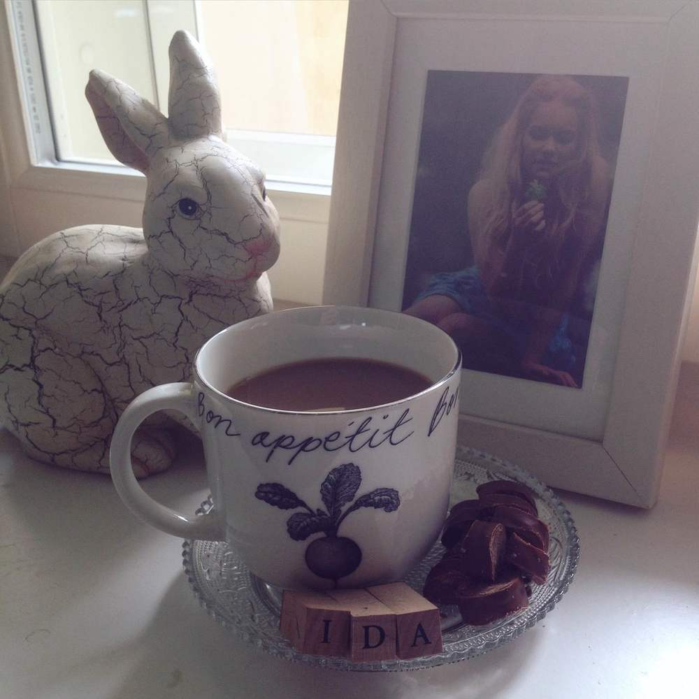 Morning coffee and chocolate with myself and bunny.