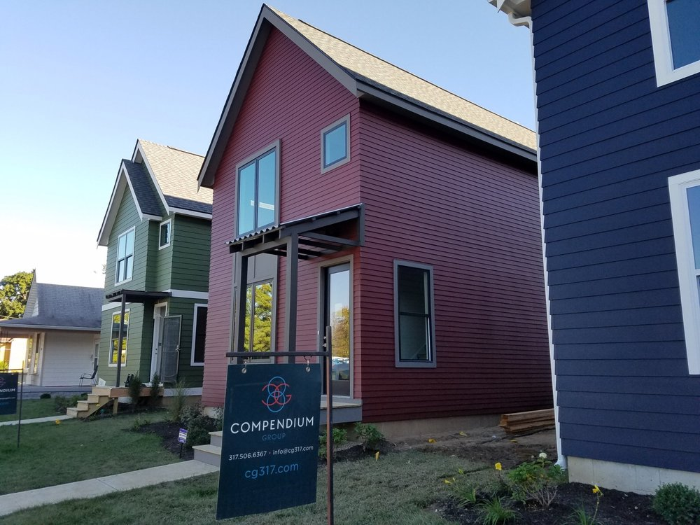 Completed  | 1325, 1327, 1401 E. 11th Street  These three net-zero ready homes were completed in October 2016. Each one shares the same floor plan for efficiency throughout the building process but interior finishes are reflective of each client! These homes were the first of 10 projects on 11th Street.