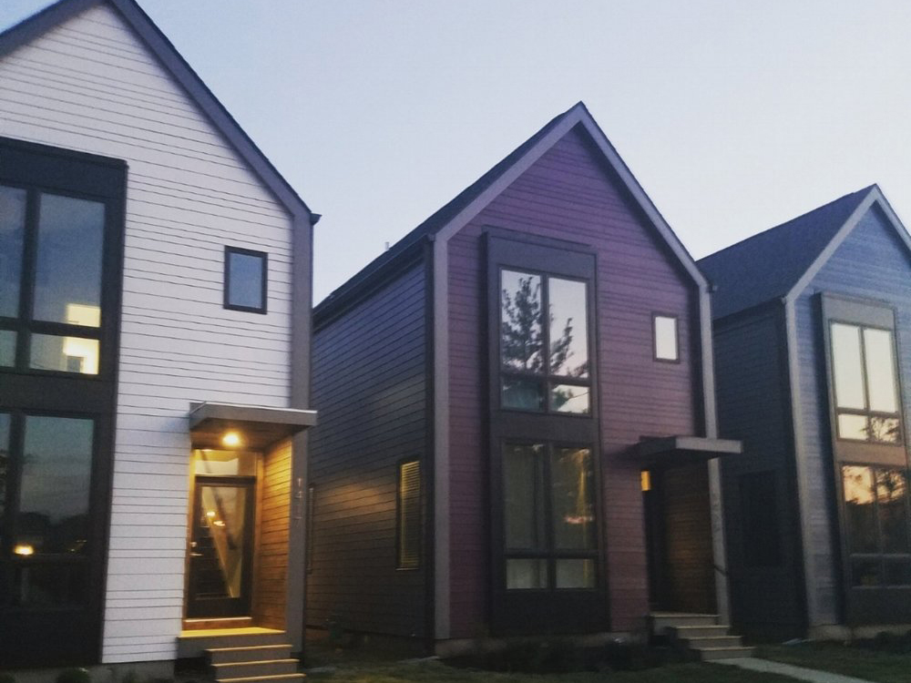 Completed  | 1413, 1415, 1417 E. 11th Street  We completed these three net-zero ready homes in April 2017. Each one shares the same floor plan for efficiency throughout the building process, but interior finishes are reflective of client design!