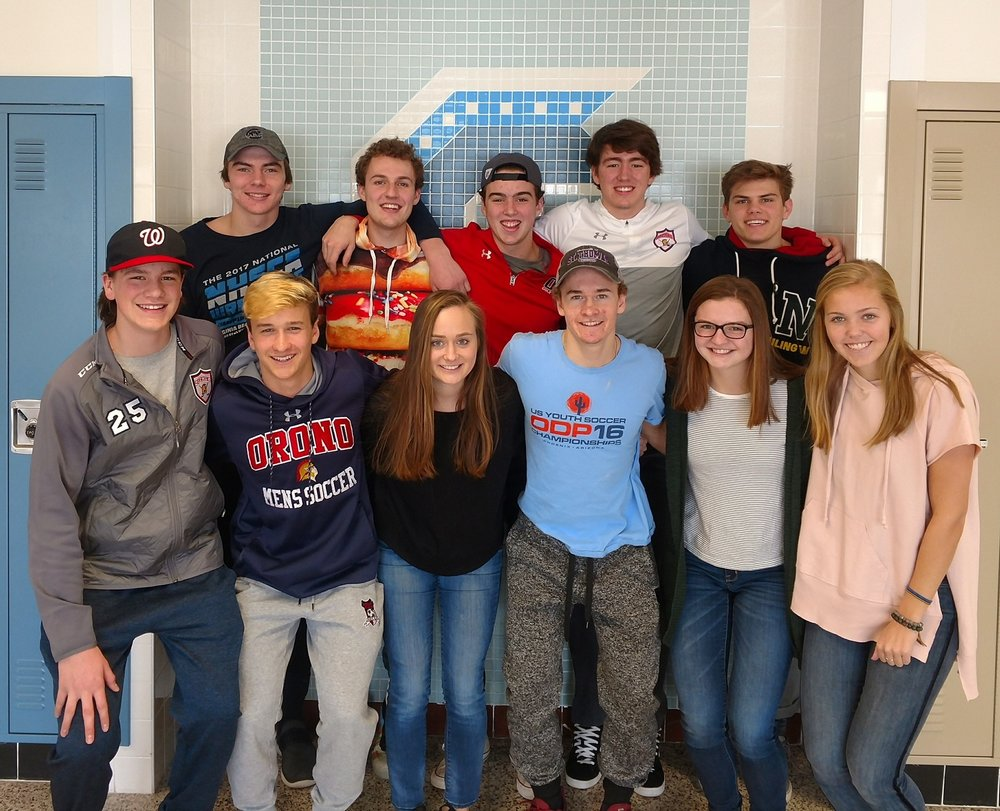 Front: Daniel Walker, Nick Overturf, Grace Limesand, Spencer Overturf, Holly Harrison, Leah Goehring  Back: Danny Striggow, Thomas Lecy, Sam Perry, Thomas Walker, Fisher Eiss