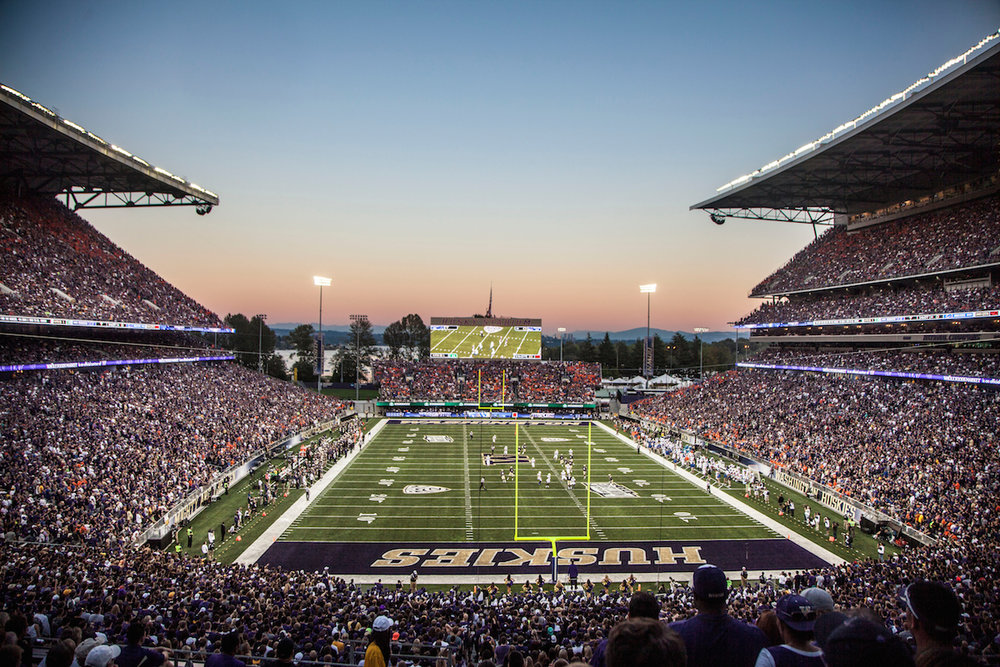 The UW Huskies clobber the Boise State Broncos 38-6 in the 2013 season opener at the newly renovated Husky Stadium in front of a sell-out crowd of 71,963 on Saturday, August 31st, 2013.
