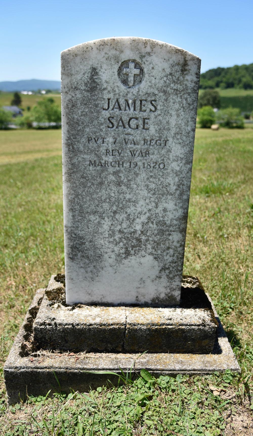 James Sage, Revolutionary War Veteran. Elk Creek, VA. Grayson County.