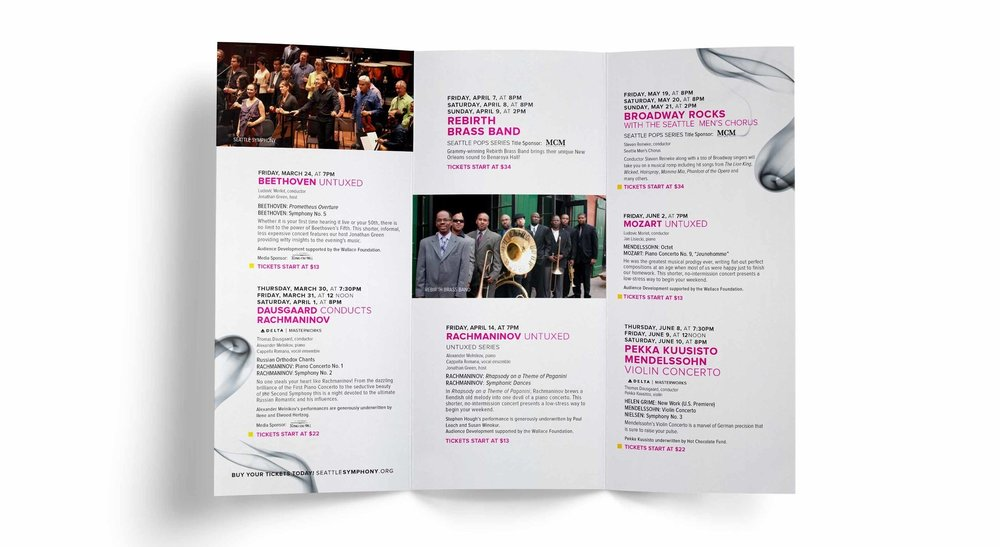 Pairing savings with unexpected concerts allows the reader to be pleasantly surprised by what the Seattle Symphony has to offer. A modern, bright and sophisticated styling offers an easy to digest approach to how the Symphony presents itself.