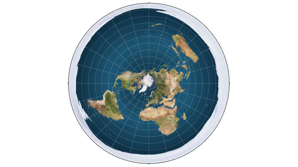 A rendered picture of the Flat Earth model. The white around the outside of the globe is thought to be an 'Ice Wall,' preventing people from falling off of the surface of the earth. Wikipedia Commons