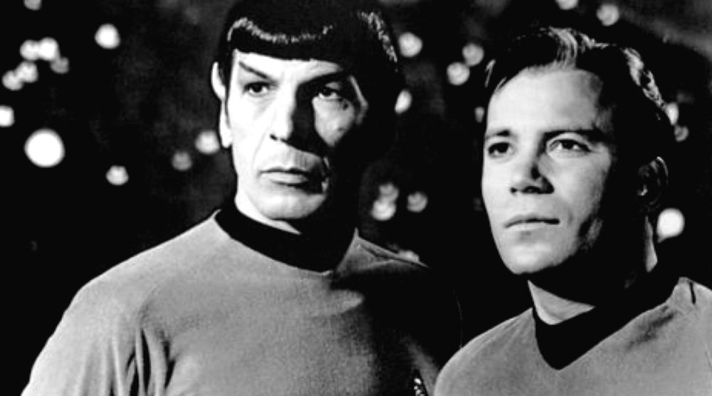 "Leonard Nimoy and William Shatner as Mr. Spock and Capt. Kirk from ""Star Trek."" - Wikimedia Commons"