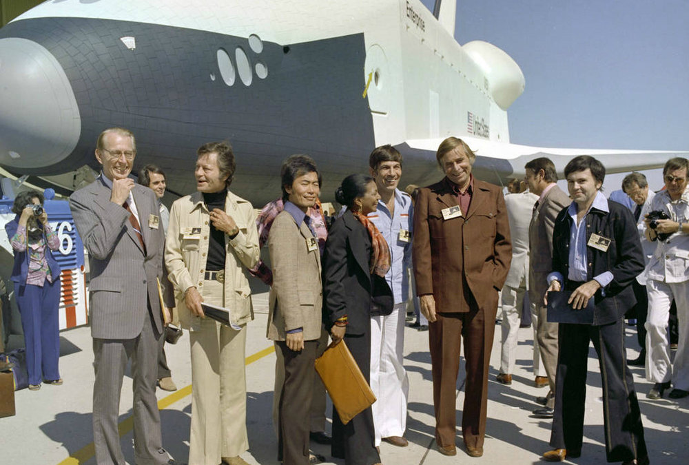 The ''Star Trek'' cast visits NASA Dryden (now Armstrong) circa 1976. - Courtesy NASA