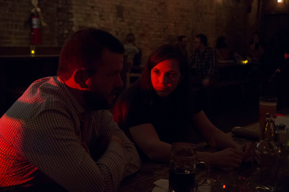 Founder of Memphis Delta Preparatory Charter School in Memphis, Michael McKenna (left), has drinks with Principal Emily Hoefling at Black Forest Brooklyn in Fort Greene to get advice on leading a charter school.