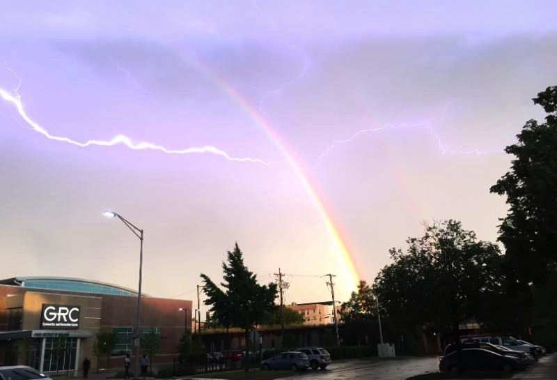 Lightening and Rainbow over Oak Park, IL    July 2016    Photo by June Tanoue