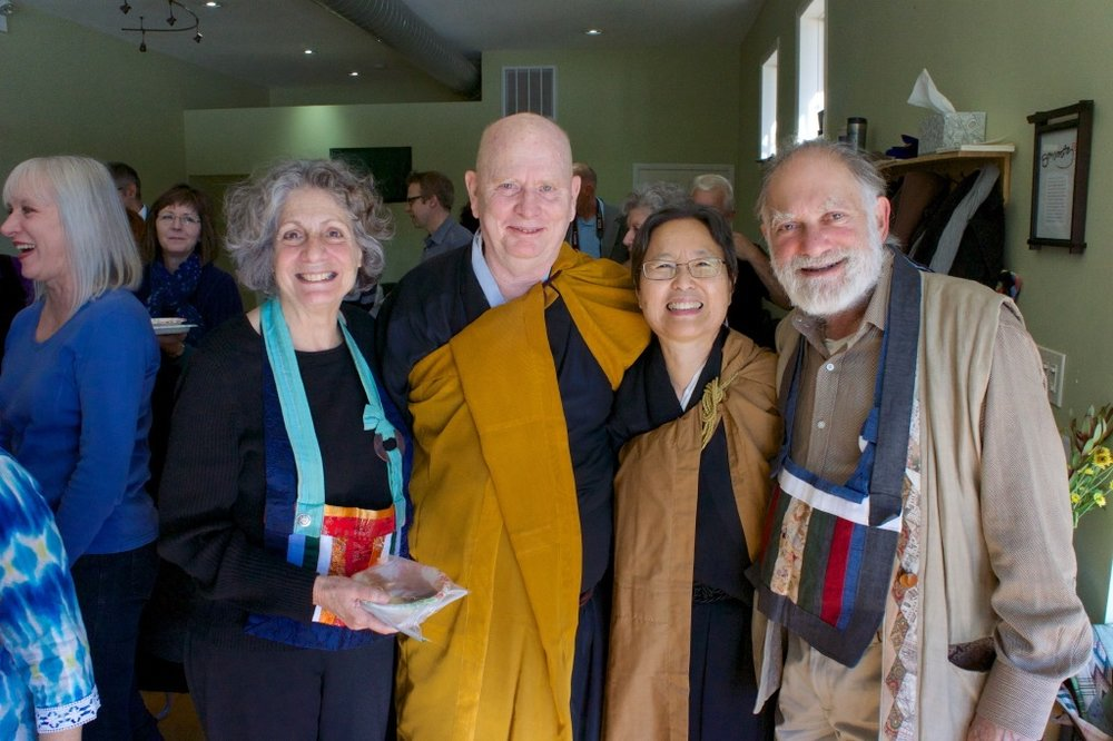 Eve Marko, Robert Althouse, June Tanoue, Bernie Glassman. Eve and Bernie were preceptors at June Tanoue's final empowerment ceremony as a Zen priest and Zen teacher on 11/2/14. photo by Peter Cunningham