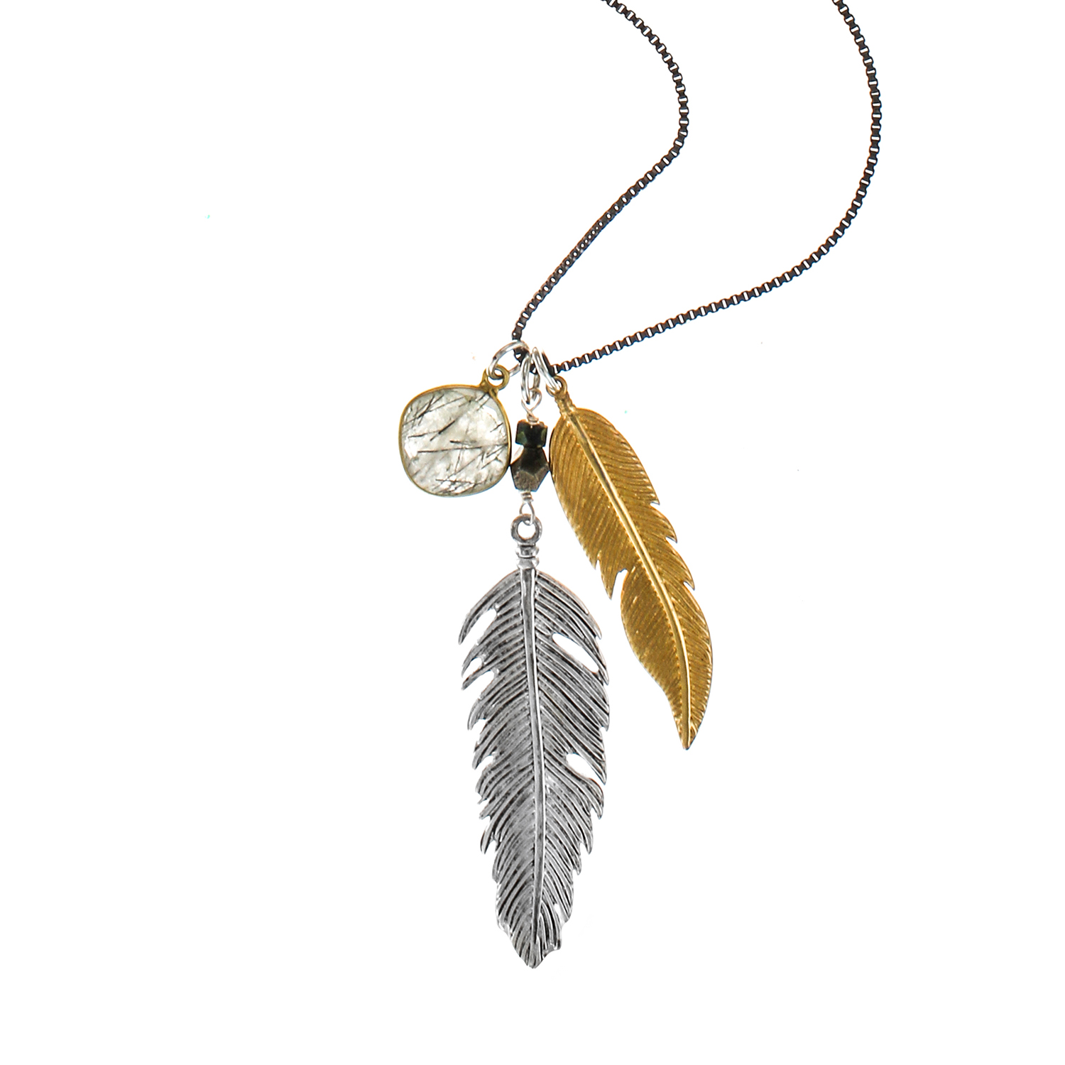 feathered pendant claire s feather necklace crystal
