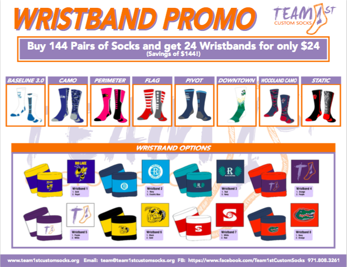 Socks do NOT need to all be the same design to qualify for $1 wristbands. Wristbands come as 24 pair or 48 individual. All 144 socks must be ordered at the same time.