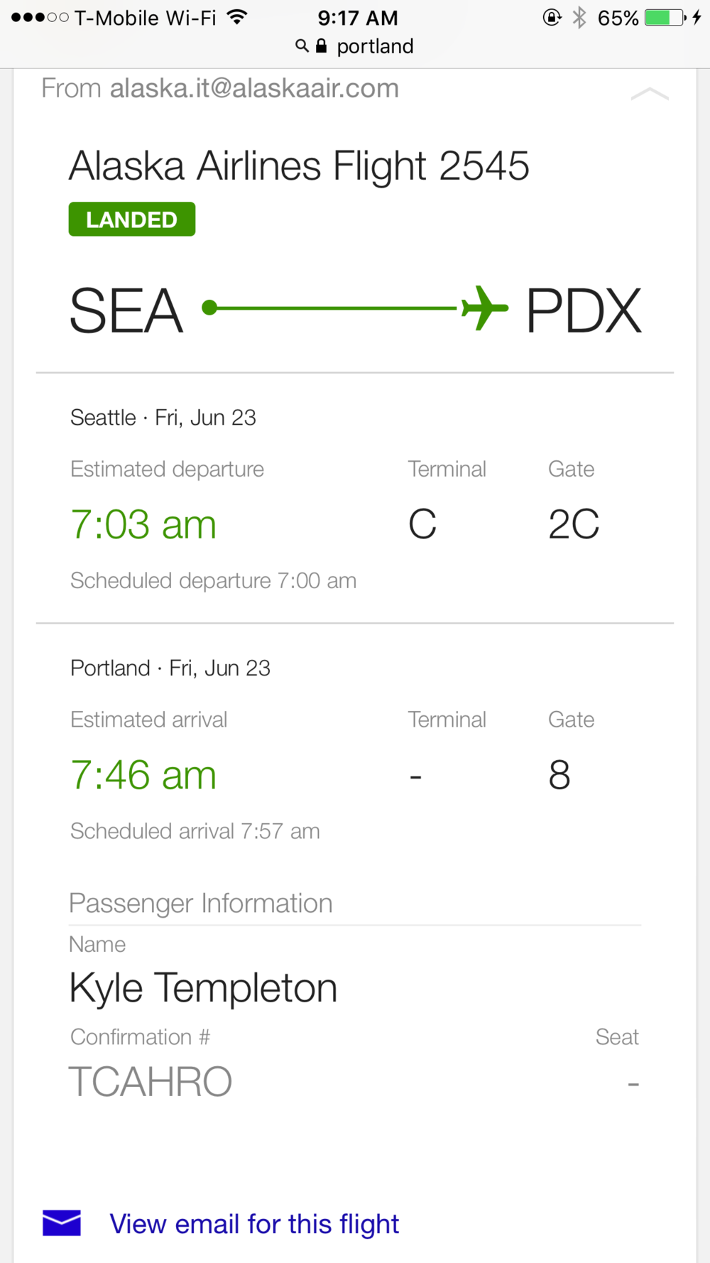 "Each section of a trip is called a ""leg."" SEA-PDX was my first leg."