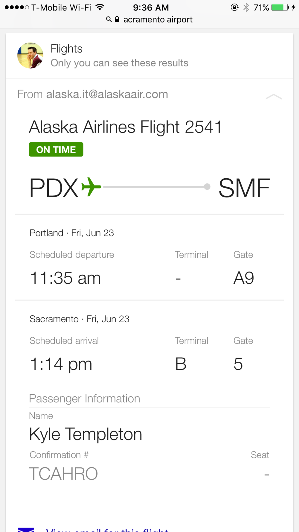 The second leg of my trip is Portland to Sacramento and the flight takes 99 minutes!