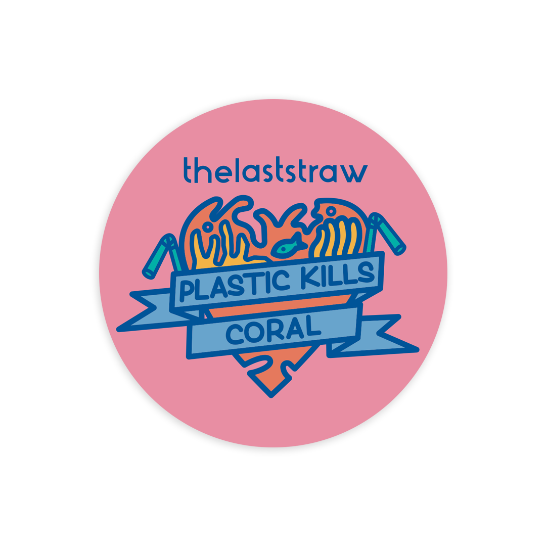 Plastic kills coral paper sticker carla scotto