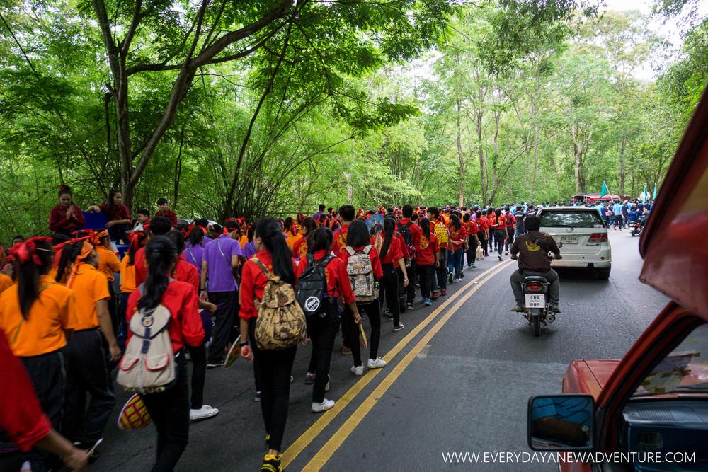 freshmen walking up Doi Suthep