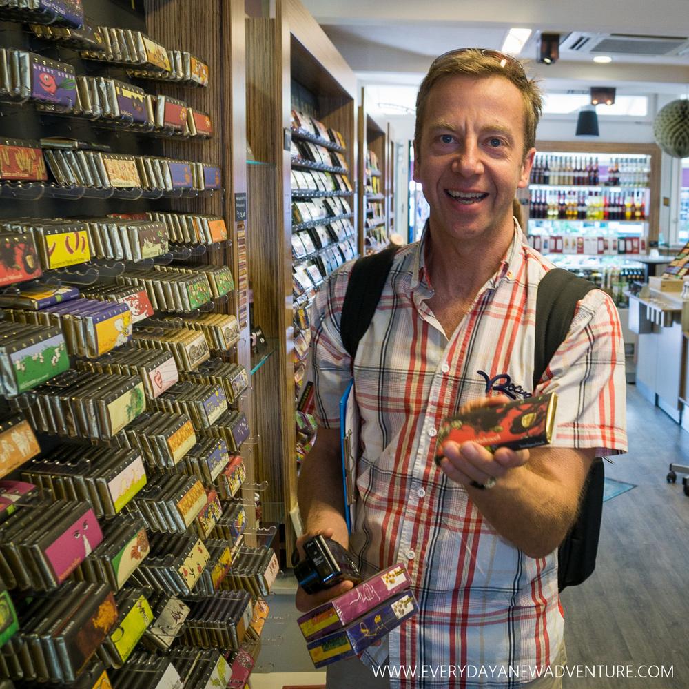 Rainer explaining Zotter Chocolates