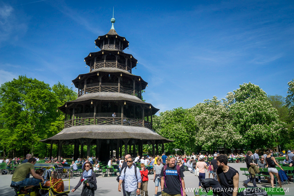 Chinese Tower and Beer Garden in English Garden