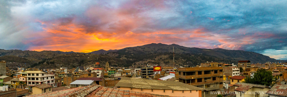 Incredible sunset over Huaraz.