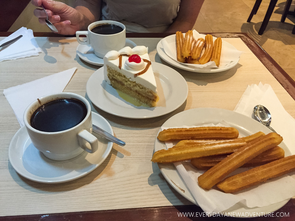 Hard to go wrong with tres leches cake, churros, and hot chocolate!