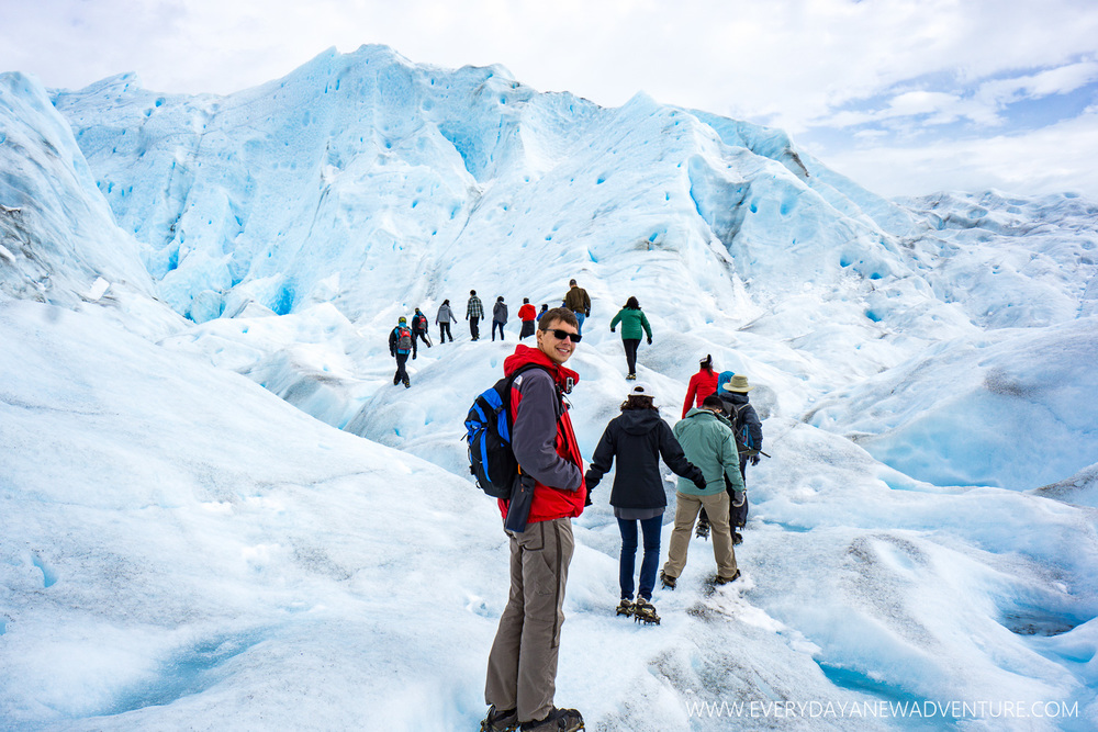 Enjoying the trek on the Perito Moreno Glacier.