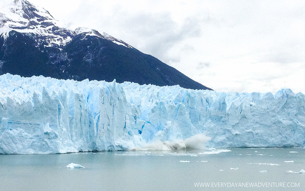 A big chunk of the Perito Moreno glacier calved off. This glacier is special in that it calves and grows at the same rate, so it never gets measurably smaller.