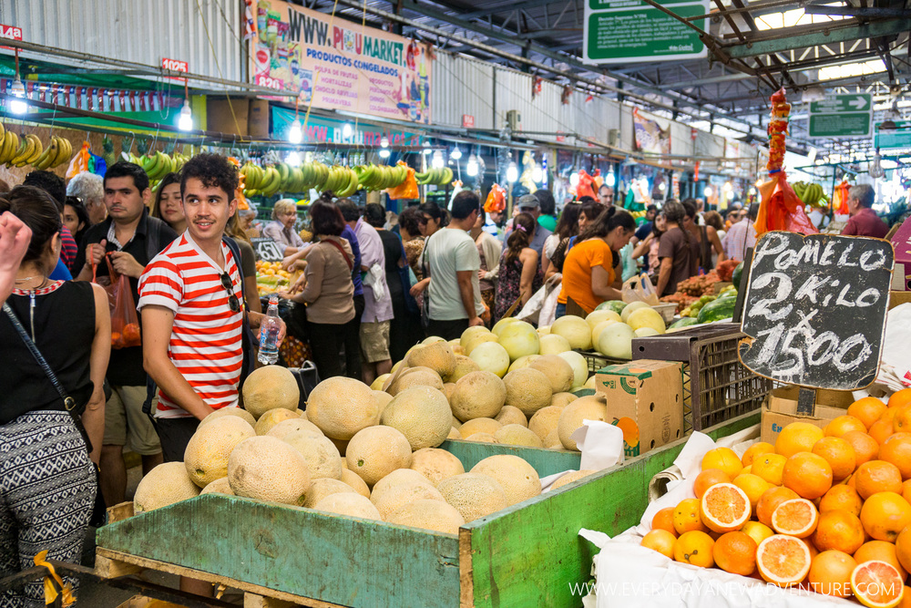 La Vega market with our guide. Can you spot him?