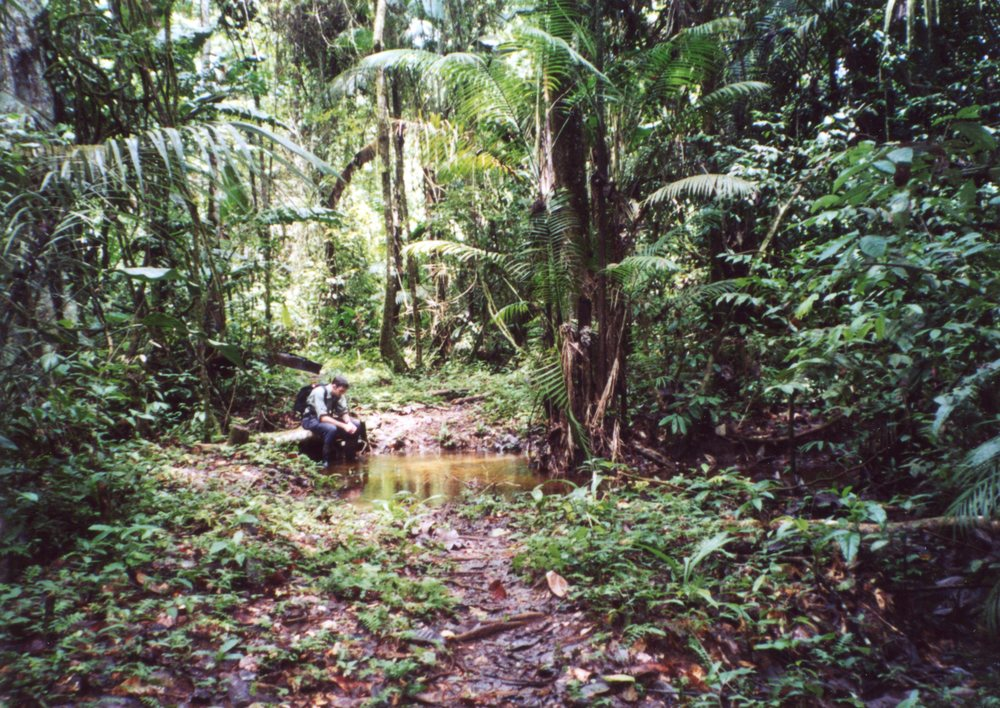 Andrew, circa 2000, taking a break from studying monkeys in the Central Suriname Nature Reserve.