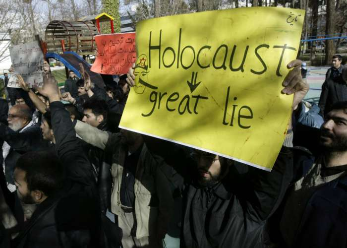 Display of Holocaust denial at a demonstration in Tehran, Iran. 2006. United Press International