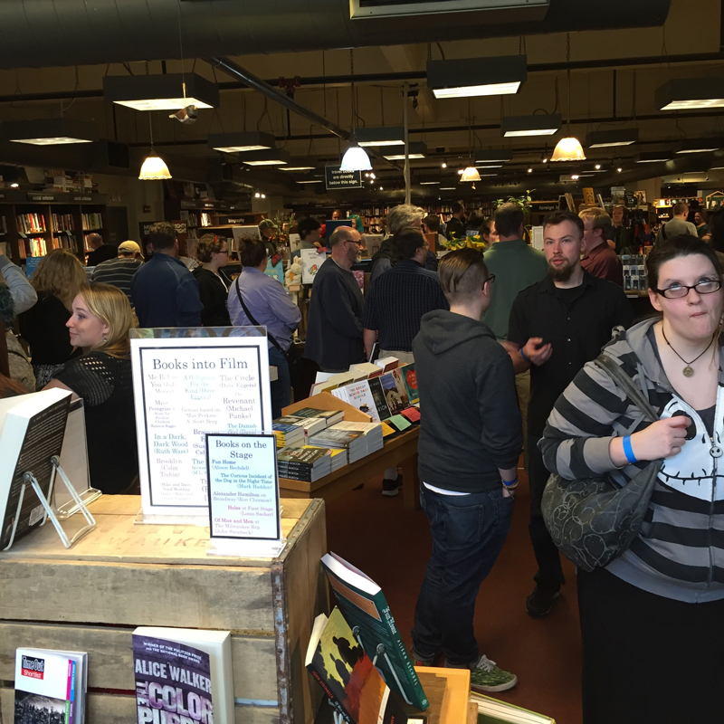 This kind of queue line can be found at Disneyland and Felicia Day's book signing at Boswell Books.