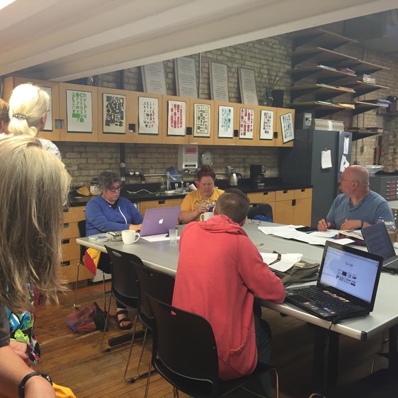 Comic Book Creators utilizing MCBA as a meeting space.