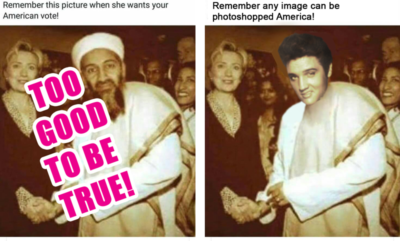 I swear Hilary really met Elvis! Check  snopes.com !