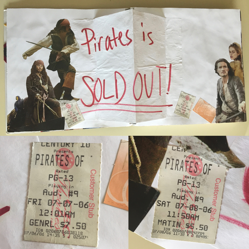 The space in my scrapbooks usually is reserved for concerts but for Pirates I made an exception.