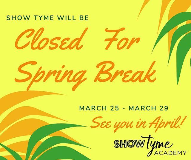 It's #SpringBreak!!! No classes next week! Get outside and enjoy the sunshine! We'll see everyone on Monday, April 1st! . . . . . #dancemissoula #actsingdance #montanadancer #showtymeacademy #lifeofadancer #dancestudio #dancestudiolife #jazz #tap #ballet #hiphop #musicaltheatre #dance