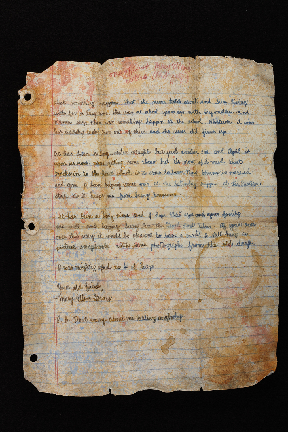 One of Aunt MaryEllen's Letters - Last Page