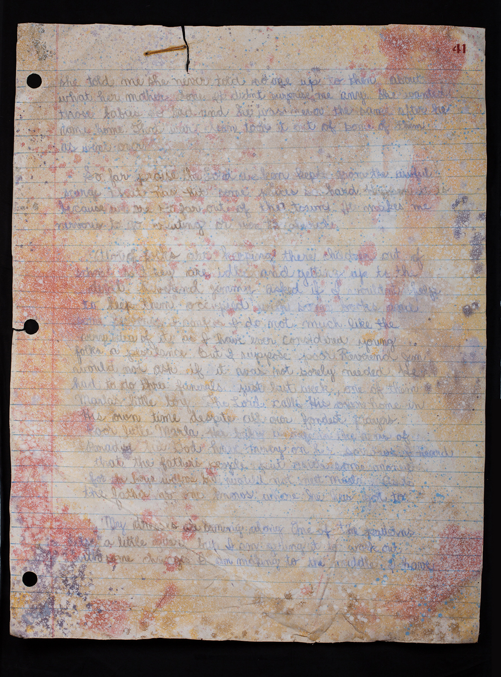 No. 5 triptych): Three Stapled pages from Myrna's Diary - Pgs. 41,42,43. - pg. 41