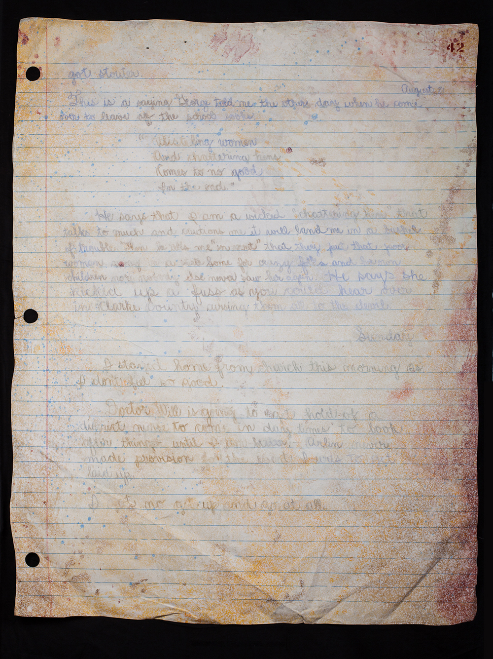 No. 6 triptych): Three Stapled pages from Myrna's Diary - Pgs. 41,42,43. - pg. 42