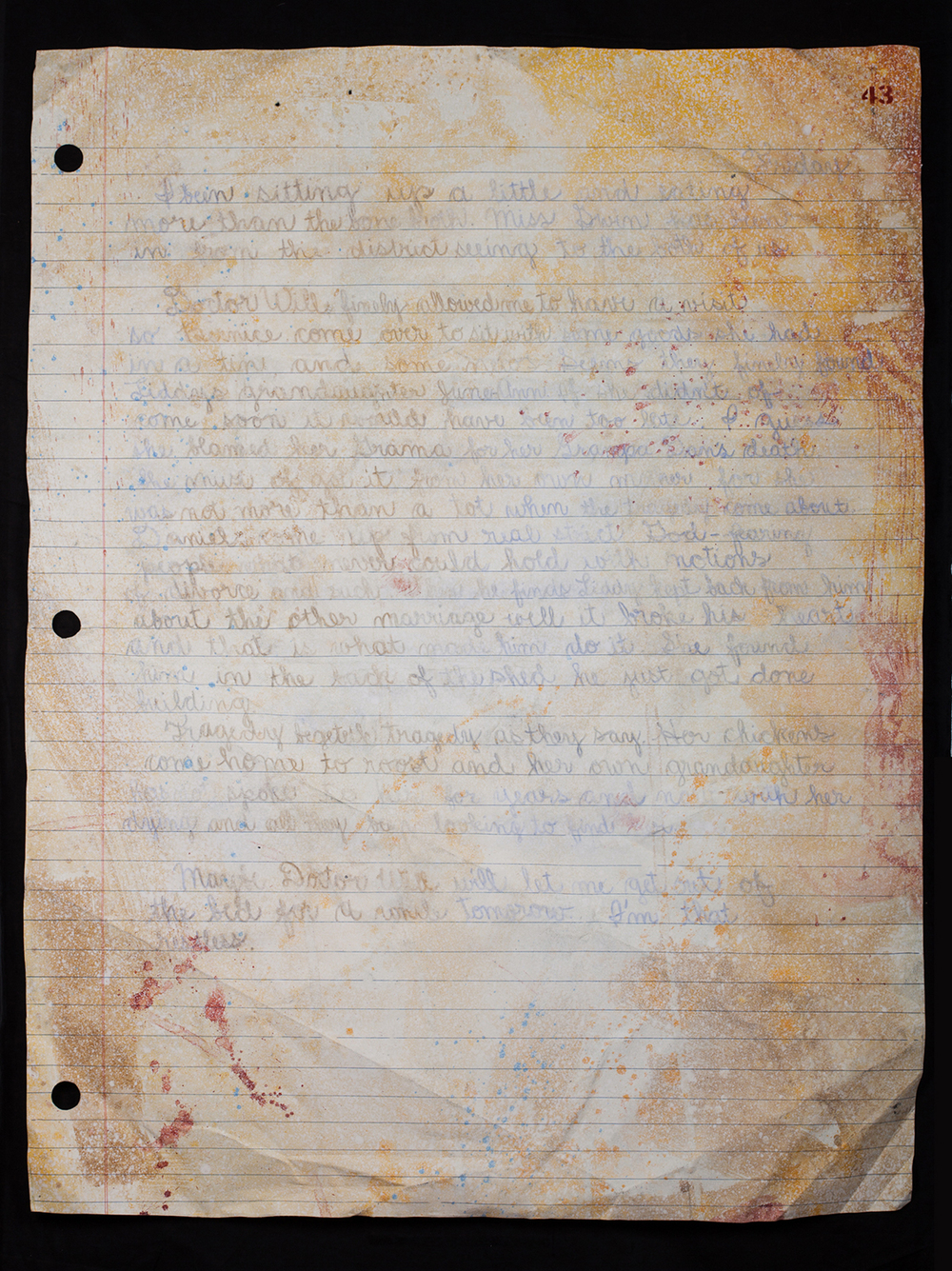No. 7 (triptych): Three Stapled pages from Myrna's Diary - Pgs. 41,42,43.
