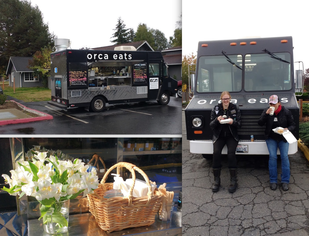 Top left : at CiderFest while the crowds were tasting and staying dry at The Lodges.  Right:   Litas  enjoying lunch sitting on the bumper - easier than sitting on a motorcycle.  Bottom Left : lovely  Peruvian lilies  from a kind lunch couple at the IGA lot.