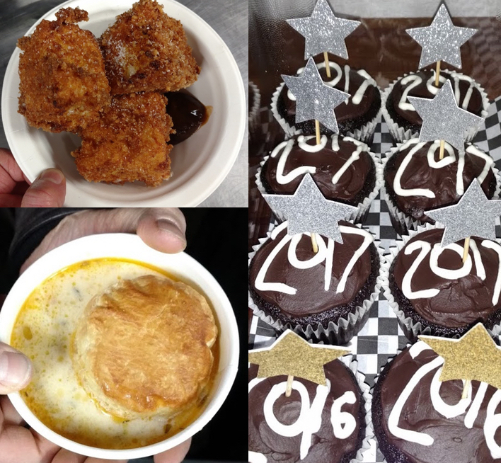 "Top left:  deep fried mac & cheese with Orca ketchup. Lower left:  seafood chowder with puffed pastry. Right:  ""mostess"" cupcakes - chocolate with cream filling, ganache."
